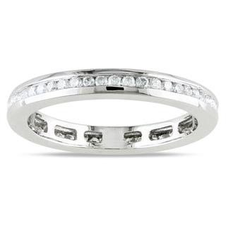 Miadora 14k White Gold Channel Set Diamond Wedding Band (G-H, I1-I2) with Bonus Earrings