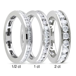 Miadora 14k White Gold Channel Set Diamond Wedding Band (G-H, I1-I2)