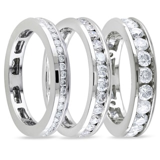 Miadora 14k White Gold Certified Channel-set Diamond Wedding Band (G-H, I1-I2)