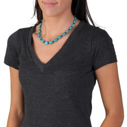 Tressa Sterling Silver Genuine Turquoise and Onyx Necklace