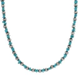 Tressa Sterling Silver Brushed Finish Genuine Turquoise Necklace