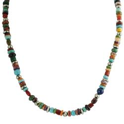 Tressa Silver Genuine Turquoise Lapis Coral Shell Bead Necklace