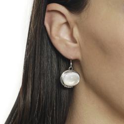 Journee Sterling Silver Genuine Moonstone Earrings