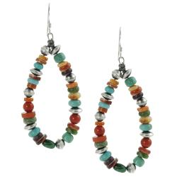 Tressa Sterling Silver Genuine Turquoise Coral Bead Earring