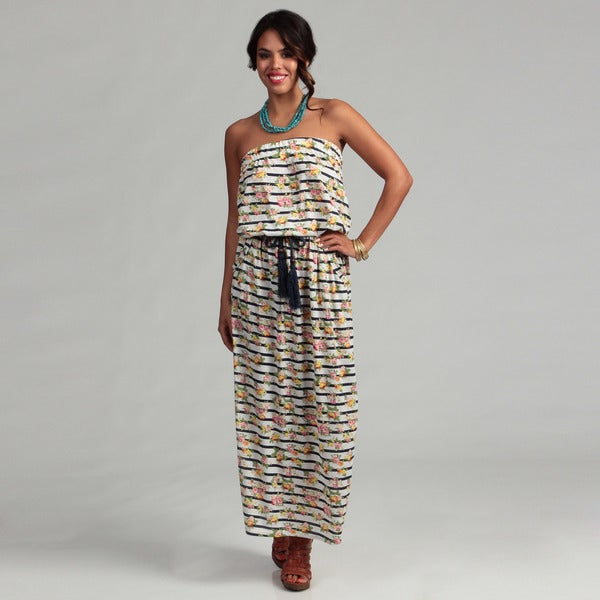 Women's Floral and Stripe Strapless Maxi Dress