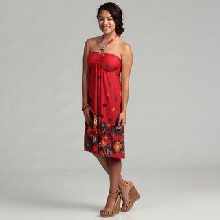 Women's Beaded Strap Red Halter Dress