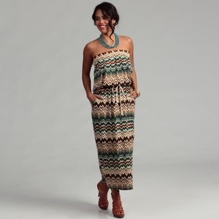 Women's Zigzag Print Strapless Maxi Dress