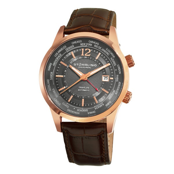 Stuhrling Original Men's Explorer Leather-strap Automatic Watch