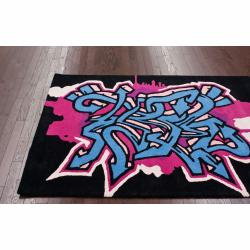 nuLOOM Handmade Kids Graffiti Black Wool Rug (3'6 x 5'6)