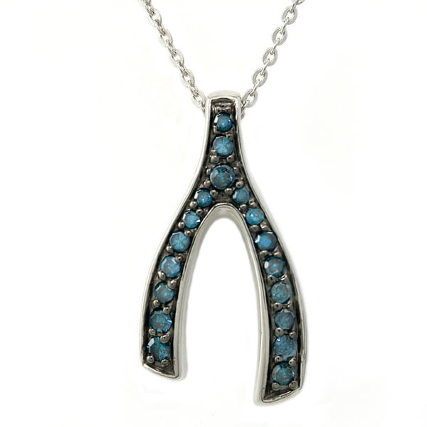 Sterling Silver 1/5ct TDW Blue Diamonds Wishbone Necklace (Blue, I1)