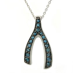 Beverly Hills Charm Silver 1/5ct TDW Blue Diamonds Wishbone Necklace (Blue, I1)