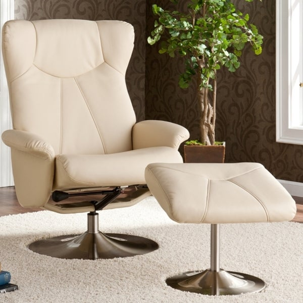 Mcpherson Ivory Leather Recliner/ Ottoman
