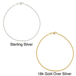 Mondevio Sterling Silver 9-inchTwisted Rope Chain Anklet