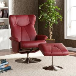 Upton Home Mcpherson Red Recliner/ Ottoman