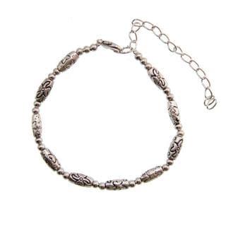 Tibetan Silver Engraved Beaded Bracelet (China)
