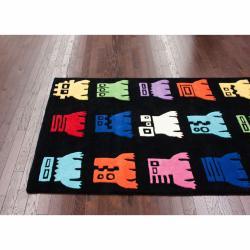 nuLOOM Handmade Kids Robots Black Wool Rug (5' x 7')