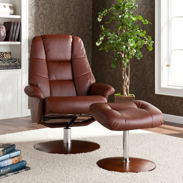 Lewington Cognac Leather Recliner/ Ottoman