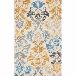 nuLOOM Handmade Damask Natural Wool Rug (7'6 x 9'6)