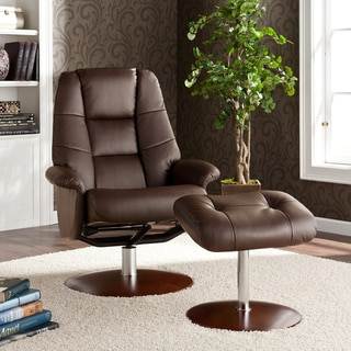 Lewington Brown Leather Recliner/ Ottoman