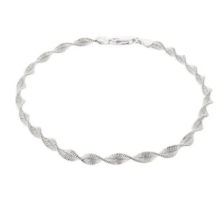 Mondevio Sterling Silver 9-inch Twisted Magic Italian Chain Anklet