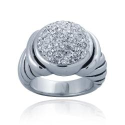 Icz Stonez Sterling Silver Crystal Ball Ribbed Ring