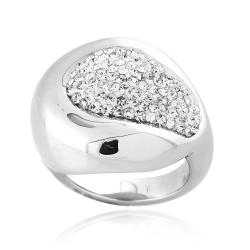 Icz Stonez Sterling Silver Clear Crystal Oval Ring