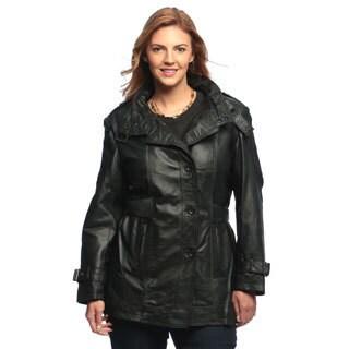 Women's Collezione Italia Leather Trench Coat-Plus Size