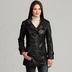 Women's Collezione Italia Leather Trench Coat-Plus Size
