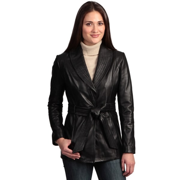 Collezione Italia Women's Leather Wrap Coat