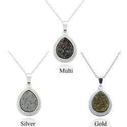 Glitzy Rocks Sterling Silver and Druzy Pear-shape Necklace