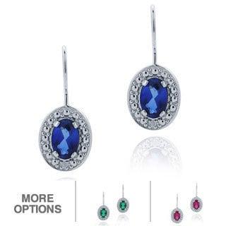 Glitzy Rocks Silver, Created Gemstone and Diamond Accent Dangle Earrings