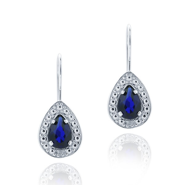 Glitzy Rocks Silver, Created Gemstone and Diamond Accent Dangle Earrings