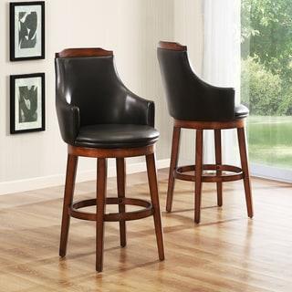Elche 29-inch Walnut Swivel Chairs (Set of 2)