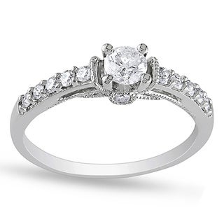Miadora 10k White Gold 3/5ct TDW Diamond Engagement Ring (G-H, I2-I3)