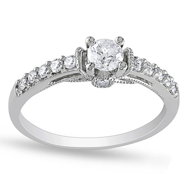 Miadora 10k White Gold 3/5ct TDW Diamond Engagement Ring (G-H, I2-I3)