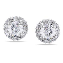 Miadora 14k White Gold 1ct TDW Diamond Stud Halo Earrings(G-H, I1-I2)