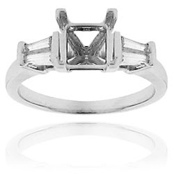 14k White Gold 1/5ct TDW Tapered Baguette Diamond Semi-mount Ring (G-H, SI1/SI2)