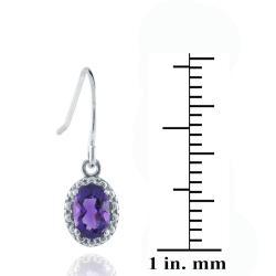 Glitzy Rocks Sterling Silver 7/8ct TGW Oval Amethyst Dangle Hook Earrings