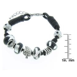 Eternally Haute Silverplated Black Leather Black Murano Glass Charm Bracelet