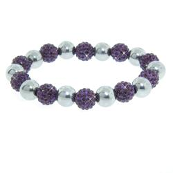 Eternally Haute Stainless Steel Purple Czech Crystal Stretch Bracelet