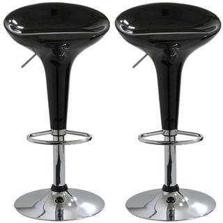 Black Adjustable Molded Bar Stools (Set of 2)