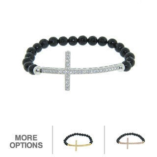 Eternally Haute Silver Black Agate Sideways Cross Stretch Bracelet