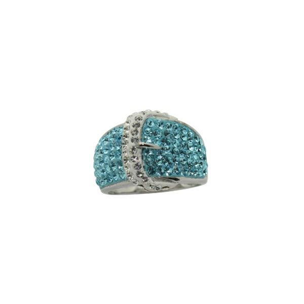 Gioelli Silver Rhodium-plated Crystal Buckle Ring