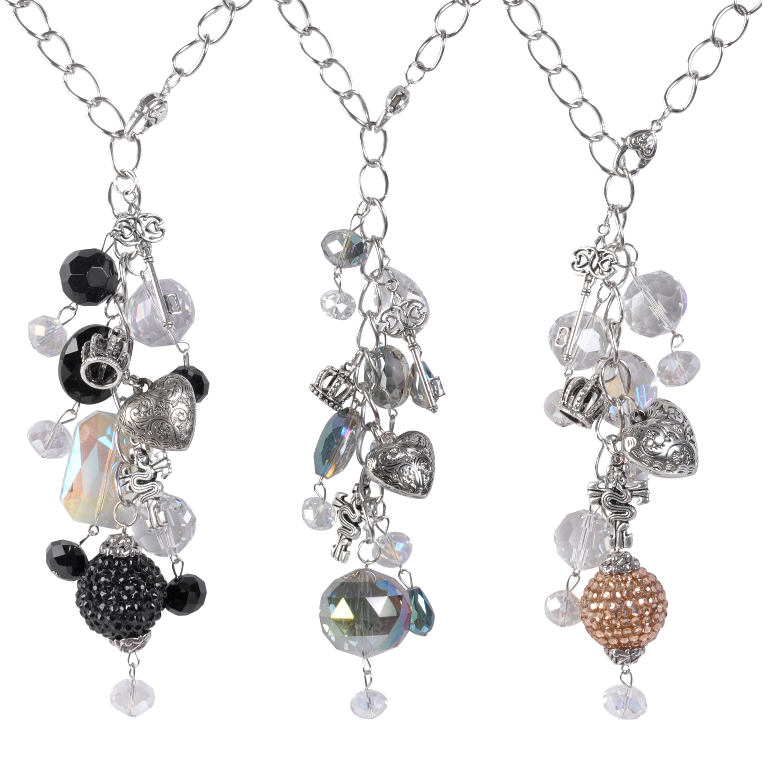 Journee Collection Silvertone Glass Stone Heart Crown Charm Necklace