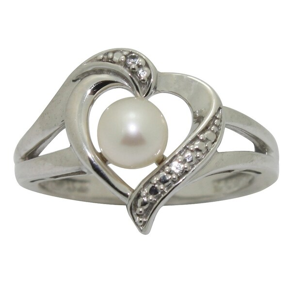 Gioelli Sterling Silver Freshwater Pearl and Cubic Zirconia Heart Ring (5.5 mm)