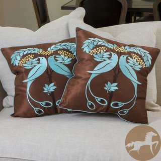 Christopher Knight Home Light Blue Embroidered Pillows (Set of 2)