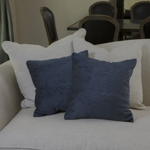 Dark Blue Jacquard Pillows (Set of 2)