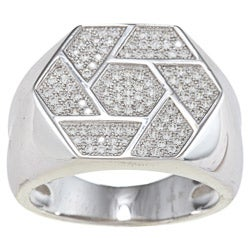 La Preciosa Sterling Silver Men's Cubic Zirconia Geometric Ring