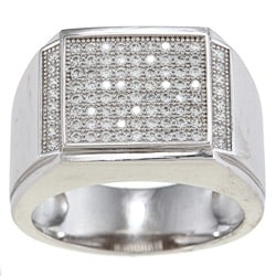 La Preciosa Sterling Silver Men's Cubic Zirconia Rectangular Ring