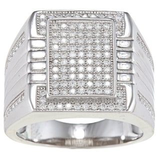 La Preciosa Sterling Silver Men's Cubic Zirconia Square Ring